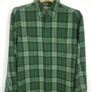 DULUTH TRADING CO Mens Plaid Flannel L green